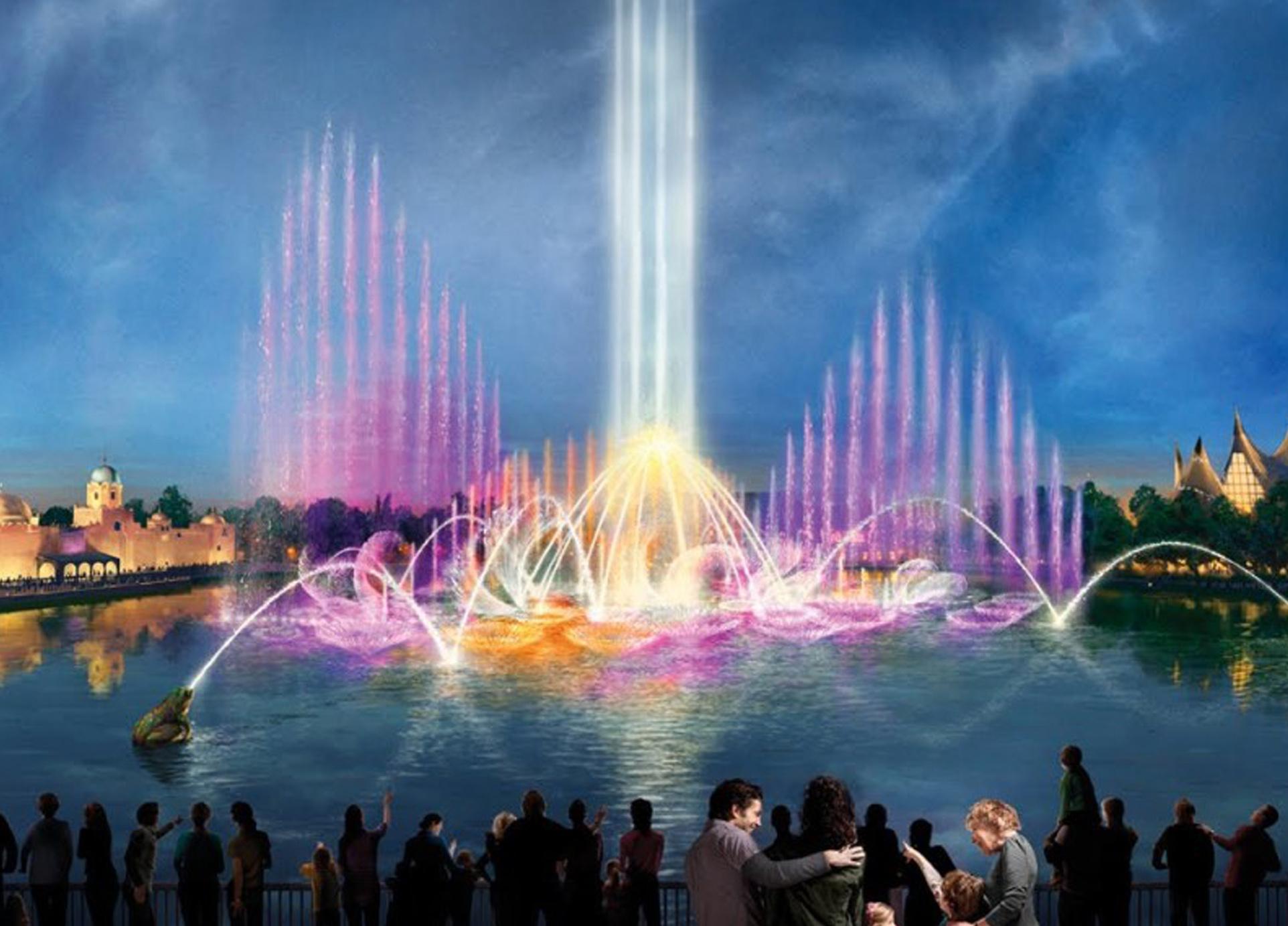 10 фонтан на озере